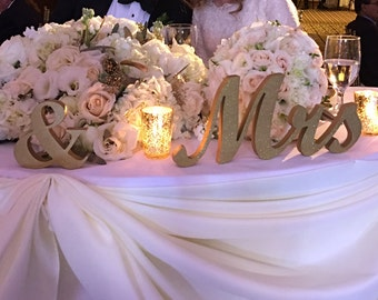 Mr. & Mrs. letters Wooden Wedding sign, Gold Glitter. Standing Mr and Mrs signs for sweetheart table, Mr  Mrs Wedding Signs
