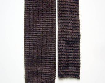 Vintage Lisle Cotton Knit Necktie - Chocolate Brown - Square End Tie