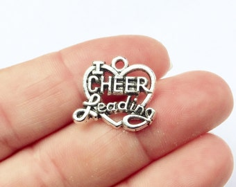 "10 I ""Heart"" Love Cheer Leading, Cheerleading, Cheerleader, Cheer Charms  20x16x2mm, Hole Approx 2mm"