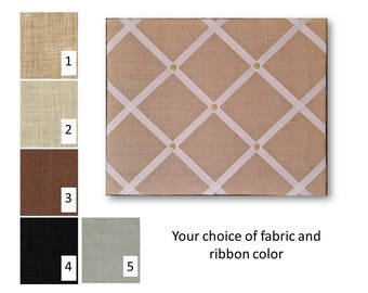 Burlap French Memo Board 24 x 36 -  Bulletin Board - Your choice of fabric and  ribbon colors - FREE US SHIPPING