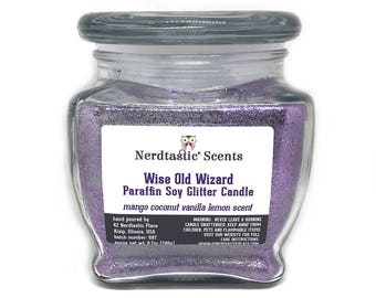 Book Candles | Wise Old Wizard Mango Coconut Vanilla Lemon Scented Candle | 8oz Glass Jar | Paraffin Soy Candle | Wax Melts | Glitter Candle