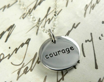 Courage and Strength sterling silver mantra necklace personal talisman jewelry