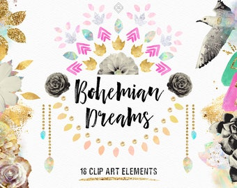 Bohemian Clipart - Boho Clipart - Bohemian Wedding Clipart - Tribal Clipart - Aztec Clipart - Flower Floral Clip Art - Watercolor Clipart