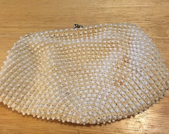 White Beaded Clutch/Strap Evening Bag