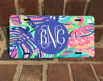 Custom Lilly Inspired Colorful Leaf Monogram License Plate / Aluminum