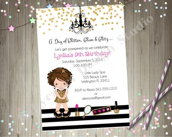 Dress up Party Birthday Invitation invite Glam Party diva party glitter gold sparkle spa day spa party pamper party CHOOSE YOUR GIRL
