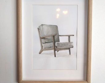 Scandinavian Armchair Watercolour Painting (with frame)