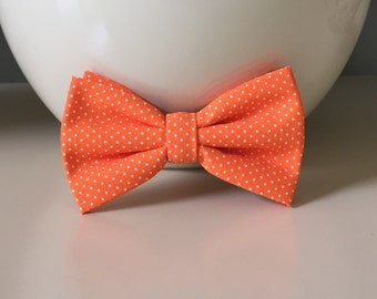 Dog Bow / Bow Tie - Orange w White Dots