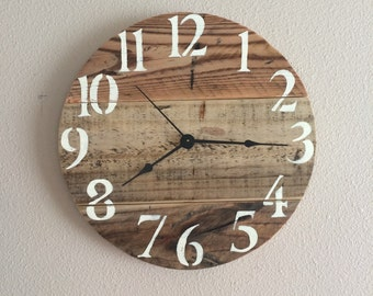 "Rustic pallet clock - 12"" Sample this clock will be made on order"