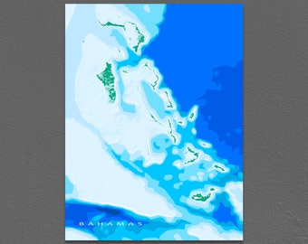 The Bahamas Map, Caribbean Islands, Blue Ocean Art Print