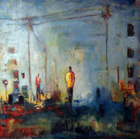 Urban Abstract Art ORIGINAL Large Original Painting Figures Blue and Yellow 36x36 by BenWill