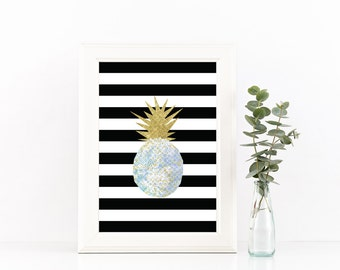 Blue and Gold Pineapple, Black and White Stripe Printable, Gifts for her, Housewarming Print, Gold Sparkle, printable wall art,pineapple art