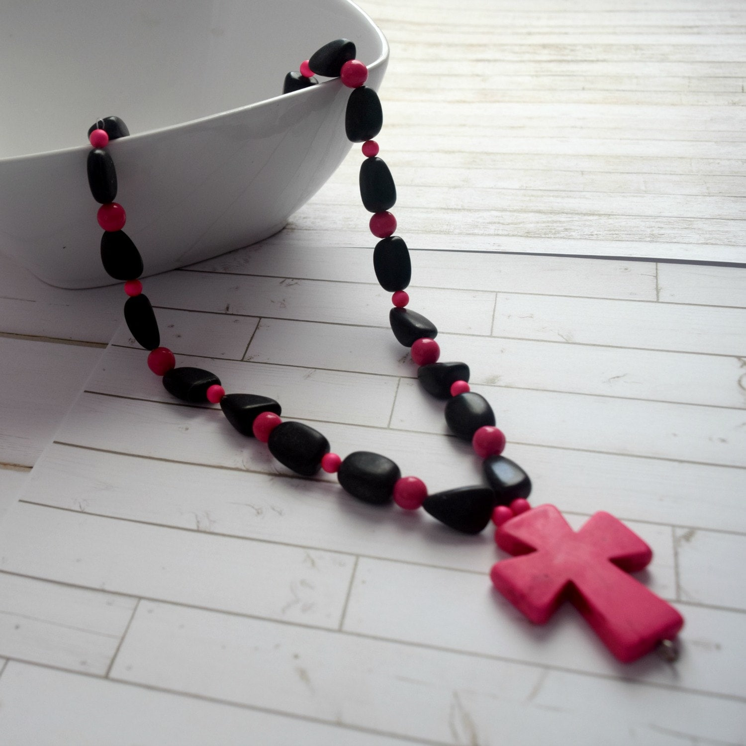 Necklace Cross Gift | Pink Necklace For Her, Christian Gift Necklace, Faith Jewelry, Cross Necklace, Bead Necklace, Best Friend Necklace