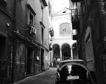 Street in the Spanish Quarter, Naples, Italy, Black and White Photography