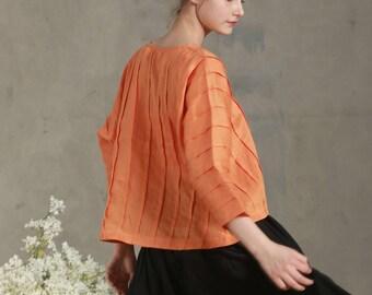linen tunic shirt in orange, pintucked shirt blouse, pleated linen tunic, oversized linen top, summer top, kaftan, linen dress, linen shirt