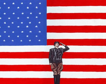 Patton Leather // American history WWII General Patton pun art print