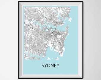 Sydney Map Poster Print - Black and White