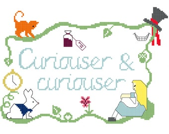 Curiouser and Curiouser Alice in Wonderland Cross Stitch Pattern Digital Download
