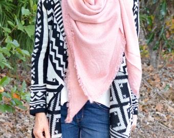Solid Pink Blanket Scarf