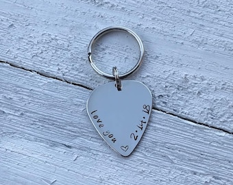 Hand Stamped Guitar Pick Keychain - Gift for Him - Personalized Gift - Personalized Valentines Gift - Father's Day Gift