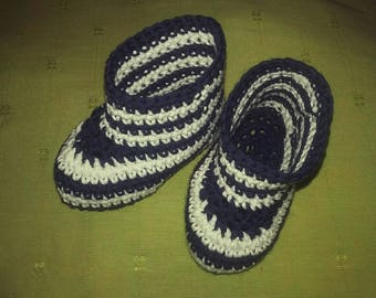 Slippers baby organic cotton sailors