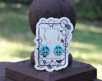Turquoise Peace Sign & White Heishi Bead SS Earrings