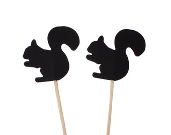 24 Black Squirrel Party Picks, Cupcake Toppers, Food Picks, Toothpicks, Drink Picks - No958