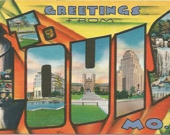 Vintage Postcard Large Letter State Souvenir -  St. Louis MO Saint Louis Missouri in Sunset Colors