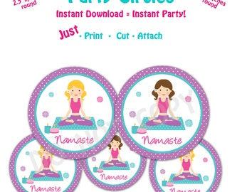 Yoga Birthday Party  Favor Tags -- Instant Download -   Printable Namaste Party Favor Tags