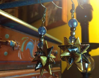 Black & Gold Moravian Star Beaded Dangle Earrings
