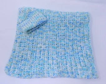 Handmade Crocheted Baby Blanket & Hat Set