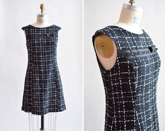 Vintage 1960s TWEED wool mini dress