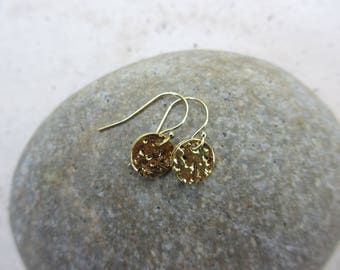 Gold Dot Earrings, Gold Disc Earrings, Small Gold Earrings, Hammered, Gold Vermeil, Irisjewelrydesign