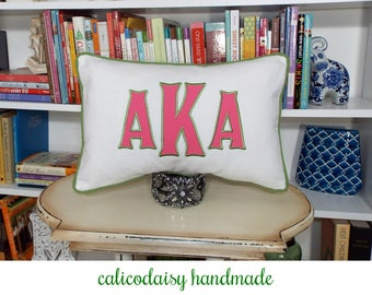Heritage - Large Font Applique Monogrammed Pillow Cover - 12 x 18 lumbar