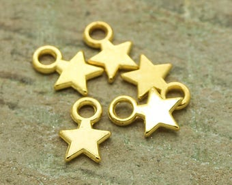 set of 50 charms stars Gold 8 mm