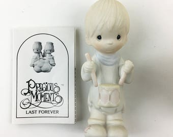 Vintage Precious Moments I'll Play  My Drum For Him Figurine E-2360
