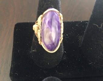 Purple - Wired 14K Gold, hand wrapped semi-precious tumble stone ring, sz:5.5