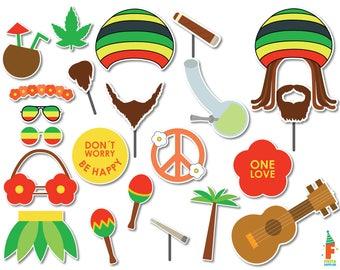 PRINTABLE Reggae Photo Booth Props–Jamaica Travel Props-Rasta, Jamaica, Beach,Reggae,Music,Party Printables-Reggae Props-Instant Download