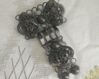 Vintage brutalist brooch, 60s, midcentury, mcm, Copper brooch, filigree brooch, costume jewellery, midcentury, modernist