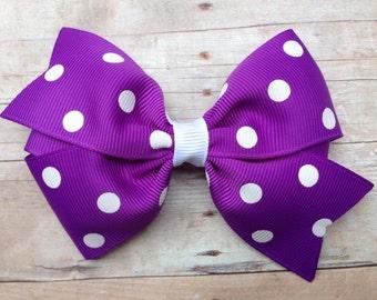 Purple polka dot hair bow - hair bows, bows, hair clips, hair bows for girls, baby bows, toddler bows, pigtail bows, girls bows, hairbows