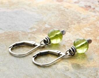 Peridot Earrings - Green Gemstone Earrings - August Birthstone - Sterling Silver - Lever Back Ear Wires #4909