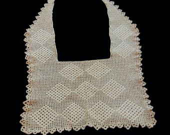 Vintage crocheted lace shawl bib collar