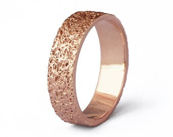 STARDUST Alternative Wedding Band, Textured Wedding Band, Mens Rose Gold Wedding Band Ring, Rose Gold Ring Band, Mothers Day Gift