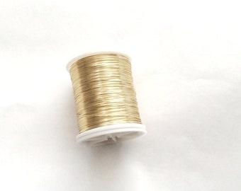 28 gauge (.32mm) Gold color Brass Beading Wire, 50mt Spool Tiara Making-(001-034GP)