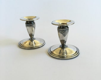 Pair of WM Rogers and Son Guild Service Set Silver Plated Candleholders.  International Silver Company.  1936