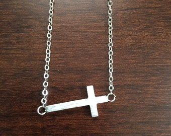 Cross Necklace, Silver Cross Necklace, Cross, Silver Cross, Religious Necklace, Religious Jewelry, Cross Jewelry, Silver Necklace, Necklace
