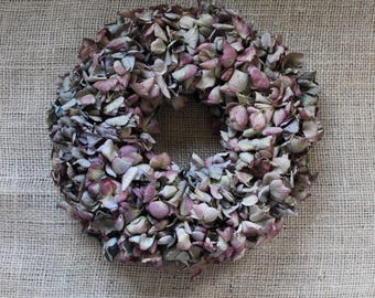 Table decorations - hydrangea wreath in Burgundy and mauve - wall decoration