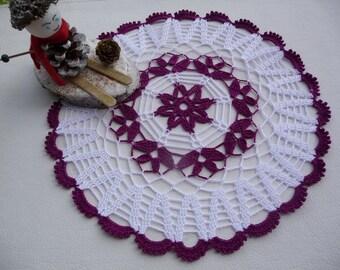 Crochet doily handmade cotton white and purple