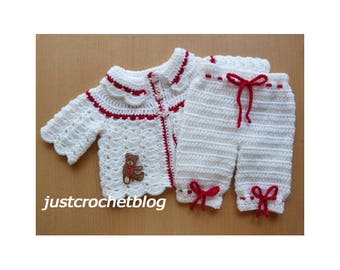 Crochet Collared Coat and Bloomers Baby Crochet Pattern (DOWNLOAD) 154BFJC
