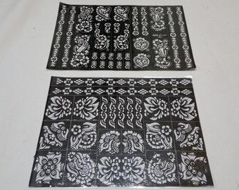 2 Big Reusable Mehndi Henna Rubber Self Stick Stencil Template.